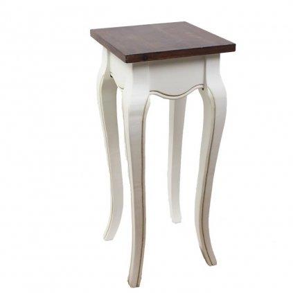 Drevený odkladací stolík v provensálskom štýle,biely v kombinácii s hnedou,23x23x62cm