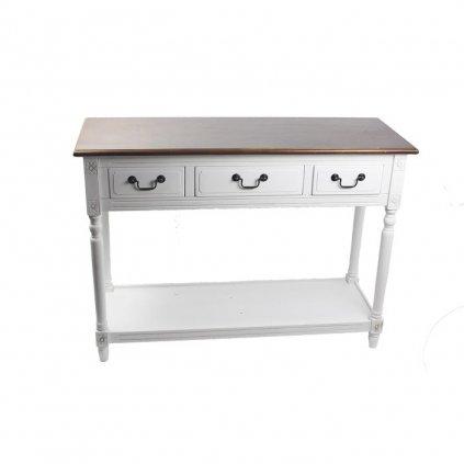 Drevený stôl v provensálskom štýle s tromi zásuvkami biely,110x40x80cm