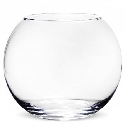 Sklenená váza priehľadná guľa,19x21x21cm