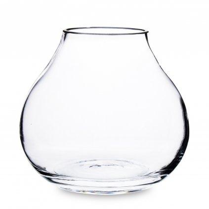 Sklenená váza priehľadná baňatá,18x20x20cm