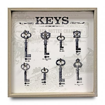 Vešiak na kľúče KEYS šedá 31x31x3.5cm 77779