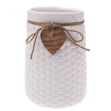 Keramická váza biela so šnúrkou a srdiečkom 12x17,5x16,5cm