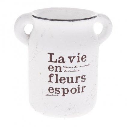 Keramický kvetináč La vie...hnedý 17,5x18x12cm