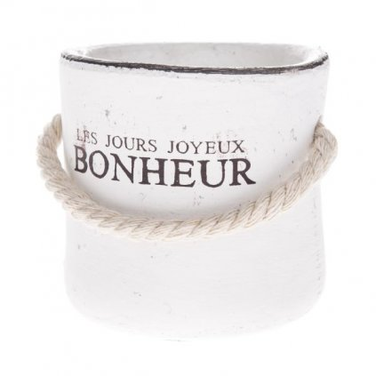 Betonový kvetináč biely Les Jeurs...s jutovým lanom 8x8x8cm