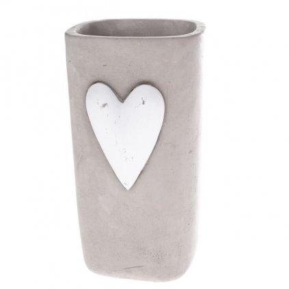 Betónová váza so srdiečkom šedá 12×23,5×15cm