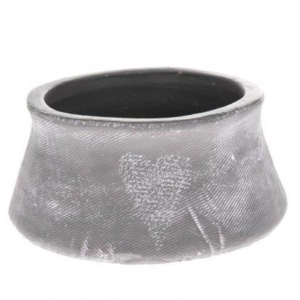 Keramický kvetináč šedý so srdiečkom Je t´aime 20x8,5x20cm