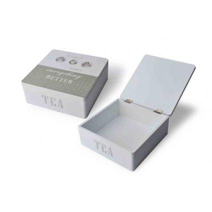 Šedobiela krabička na čaj TEA 18x18x7cm HTOB9827