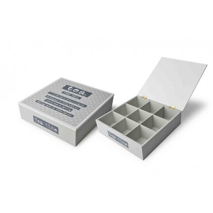 Krabička na čaj s nápismi šedá 24x24x7cm HTOB9889