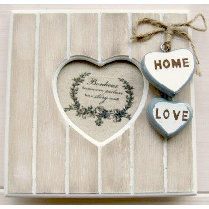 Fotorámik drevený s malými srdiečkami HOME a LOVE 14,8x14,8cm RA0071