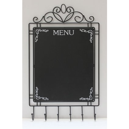 Kovová tabuľa Menu so 6 vešiačikmi 50cm MSV111
