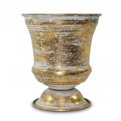 Kovový obal zlatý s patinou 16x13,5x13,5cm