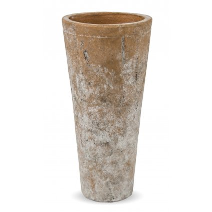 Keramický kvetináč tehlový jemná biela patina 31x15x15cm