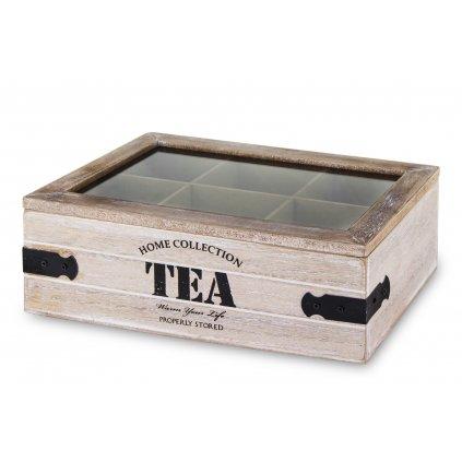 krabička na čaj drevená 8,5x24x16
