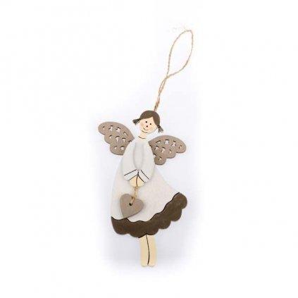 anjel drevený so srdiečkom na zavesenie krémovo šedý 10×16×1 cm