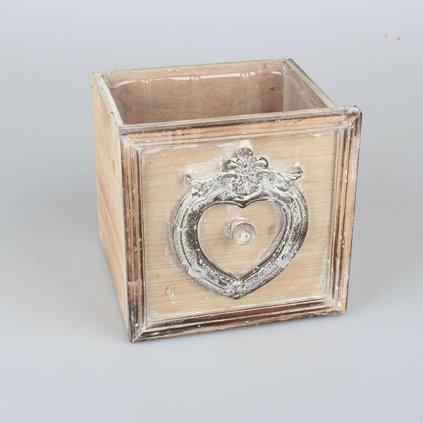 šuplík drevený obal na kvety vintage hnedý jemne bielený 18×18×13cm