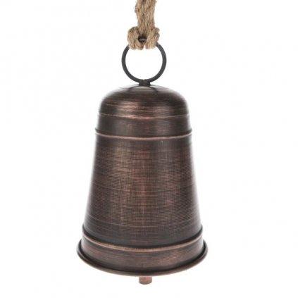 zvonček kovový na zavesenie hnedý 12×20×12cm
