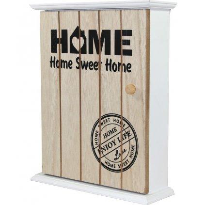 Krabička na kľúče drevená Home  27,5x22,5x7cm