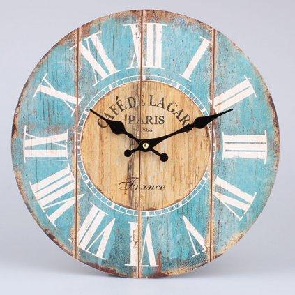 hodinky drevené nástenne modro hnedé mdf 34×34×1cm