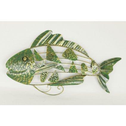 Nástenná kovová dekorácia - ryba zeleno zlata patina 52x5x31cm