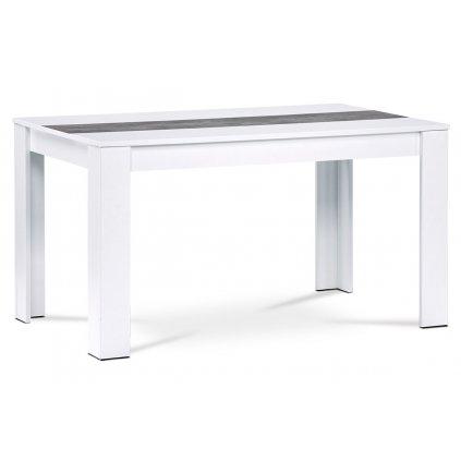 Jedálenský stôl 136x80x74 cm, MDF, biele lamino, dekorativny pruh v dekore betón