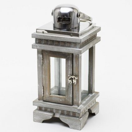 LAMPÁŠ drevený šedá patina 12X12X27CM