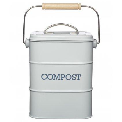 Plechový kompostér Living Nostalgia šedý 16,5x12x24cm