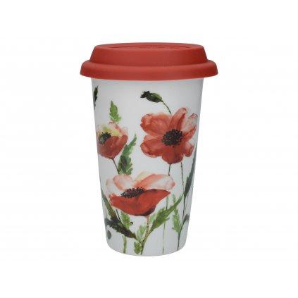 Cestovný hrnček Watercolour Poppies 350ml porcelánový