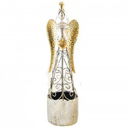 Kovový anjel na čajovú sviečku 9x9x35cm