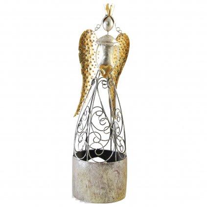 Kovový anjel na čajovú sviečku 12x12x45cm