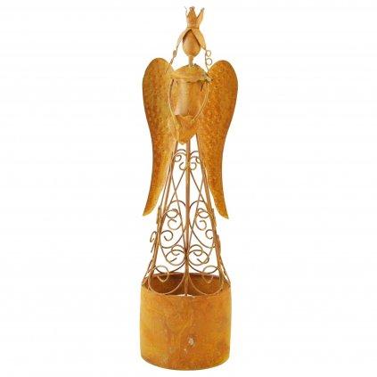 Kovový anjel na čajovú sviečku hrdza 9x9x35cm