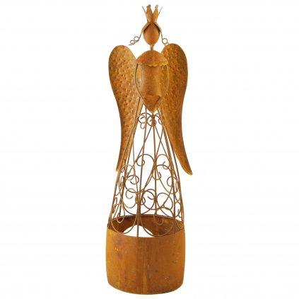 Kovový anjel na čajovú sviečku hrdza 12x12x45cm