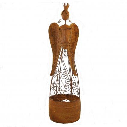 Kovový anjel na čajovú sviečku hrdza 15,5x15,5x57cm