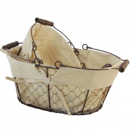 Kovový kôš s látkou oválny sada 2 ks väčší košík s rozmerom 35x25x15cm