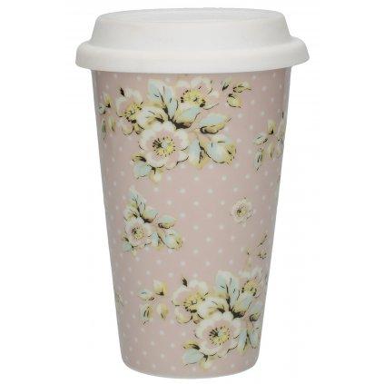 Cestovný hrnček Pink Cottage Flower porcelánový  9x9x13,5cm/350ml