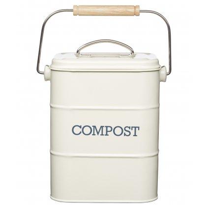 Plechový kompostér Living Nostalgia krémový  16,5x12x24cm