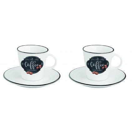 Porcelánové šálky a podšálky na espresso Kitchen Basic 100ml