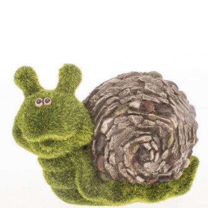 slimák záhradná dekorácia mgo keramika zeleno šedý 19,5×13,5×9,5cm