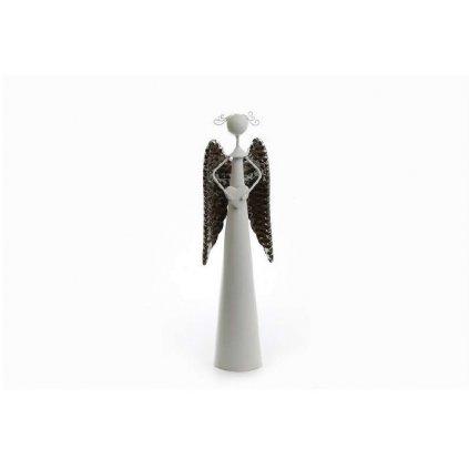 anjel so srdcom kovový biely krídla strieborne 11x40cm