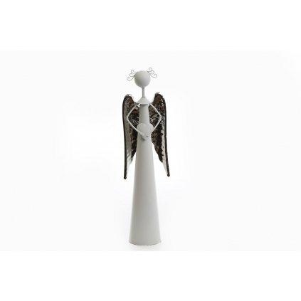 anjel so srdcom kovový biely krídla strieborne 9x30cm