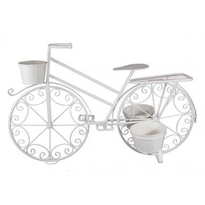bicykel stojan na kvety biely kovoví 65x103x38cm