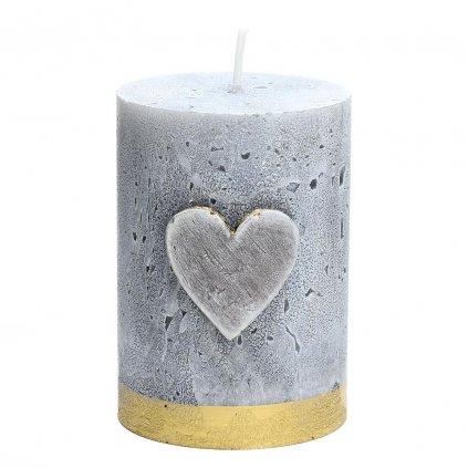 sviečka valec so srdiečkom šedá 70/100
