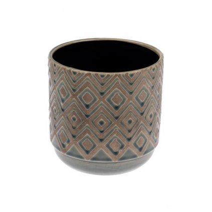 kvetináč keramicky šedý 12,8×12,8×12,7cm
