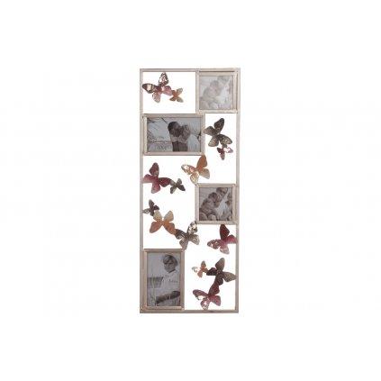 Fotorámiky kovová nástenná dekorácia s motýľmi  20x60x3cm