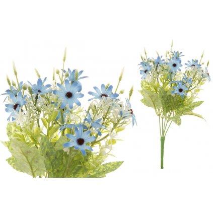 Margarétky umelá kytica modrá 18x33x18cm