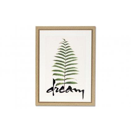 Obraz plátený zelený list Dream  v rámčeku na MDF doske 30x40x2,5 cm
