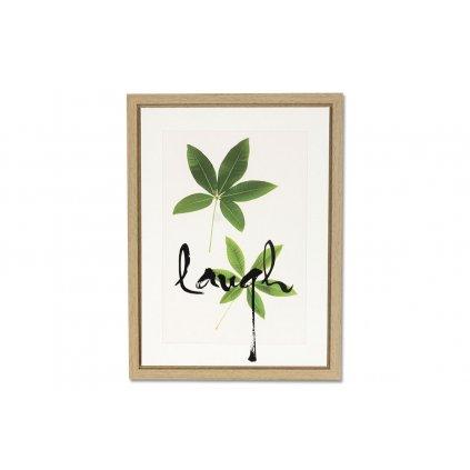 Obraz plátený zelený list Laugh  v rámčeku na MDF doske 30x40x2,5cm