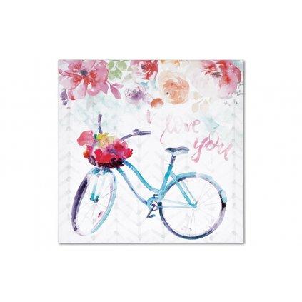 Obraz plátený bicykel v kvetinách na MDF doske 28X28X1.5CM