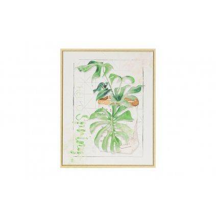 Obraz na plátene zelené listy 40x50x2,5cm