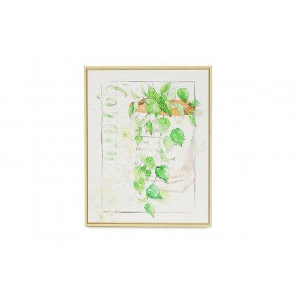 Obraz na plátne zelené listy v rámiku 40x50x2,5cm