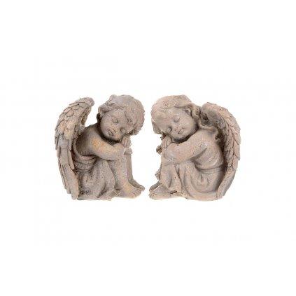 Anjel sediaci s rukami na kolenách polyresin  dekorácia 14x16x11cm